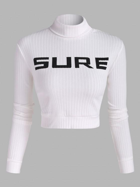 online Ribbed SURE Graphic Cropped Tee - WHITE S