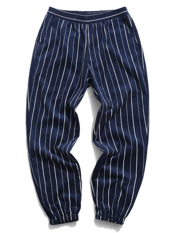 sale Striped Pattern Corduroy Beam Feet Pants - DEEP BLUE 3XL