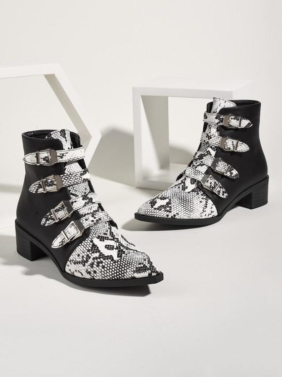 outfits Snake Print Buckle Strap Chunky Heel Ankle Boots - MULTI-A EU 41