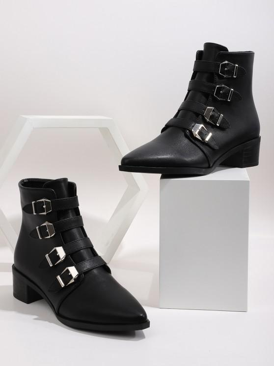 fashion Plain Buckle Strap Pointed Toe Ankle Boots - BLACK EU 41