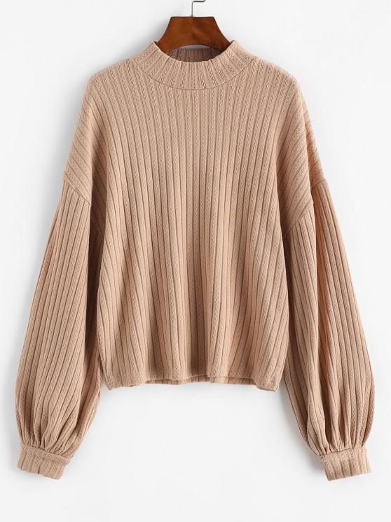 Lantern Sleeve Mock Neck Drop Shoulder Sweater - قهوة XS