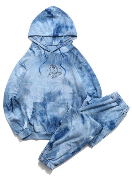 Angel Tie Dye Print Hoodie And Pants Two Piece Set - أزرق فاتح M