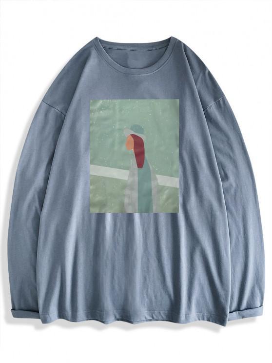 Figur Muster Langarm Basik T-Shirt - Blaue Koifisch XL