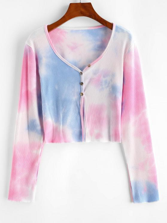 best Tie Dye Ribbed Crop Cardigan - LIGHT BLUE L