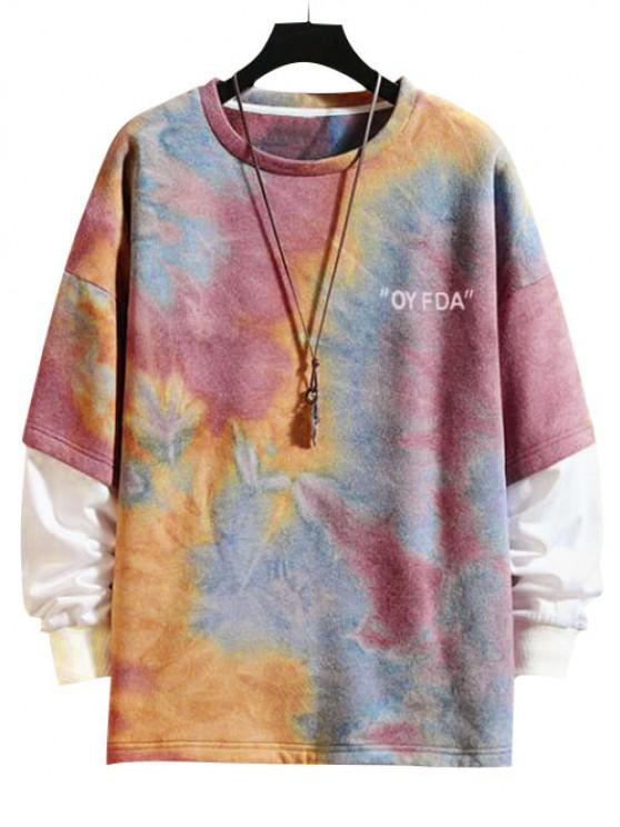 trendy Tie-dye Drop Shoulder Faux Twinset Sweatshirt - CHESTNUT RED 3XL