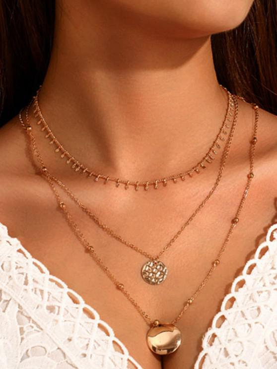 online Round Pendant Layered Necklace - GOLDEN
