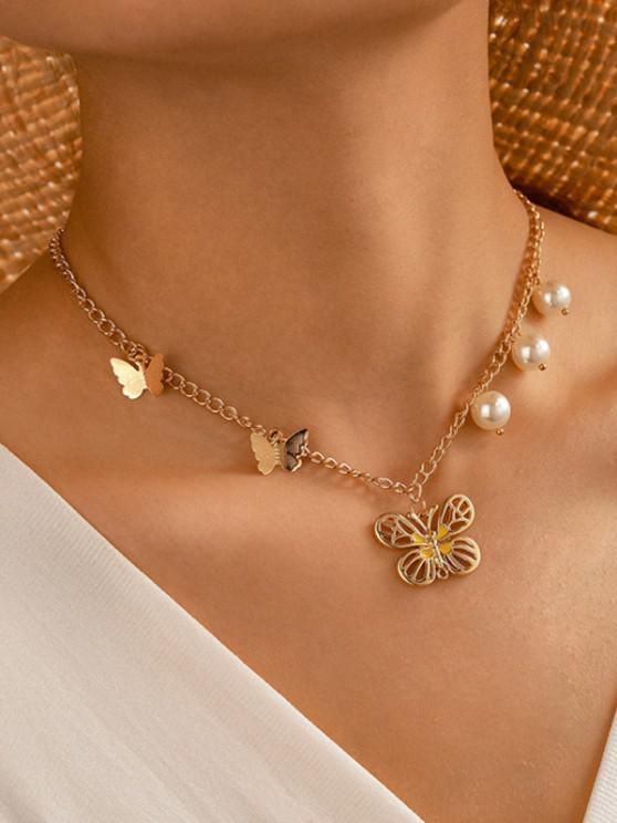 Faux Pearl Butterfly Pendant Chain Necklace - ذهبي