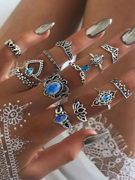 best 13 Piece Elephant Floral Heart Crown Carved Finger Rings Set - SILVER