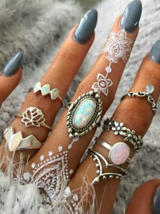 new 8 Piece Retro Floral Crown Carved Finger Rings Set - SILVER