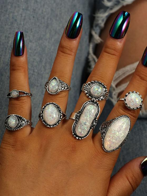 hot 8 Piece Faux Geometric Gemstone Finger Rings Set - SILVER
