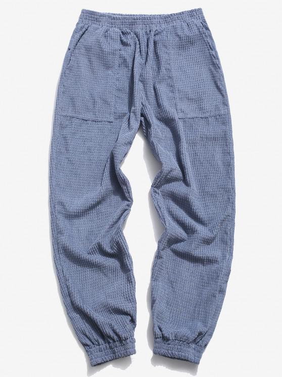 Pantalones Rayados Cintura Elástica - Azul M