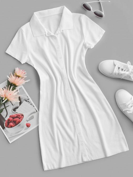 unique Rib-knit Fitted Shirt Dress - MILK WHITE M