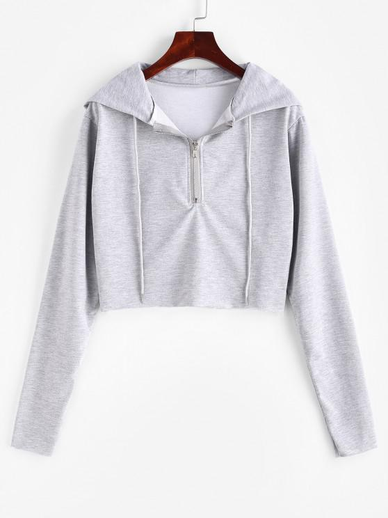 new Half Zip Drawstring Raw Hem Hoodie - GRAY GOOSE L