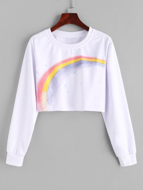 Cropped Rainbow Star Graphic Sweatshirt - أبيض XL
