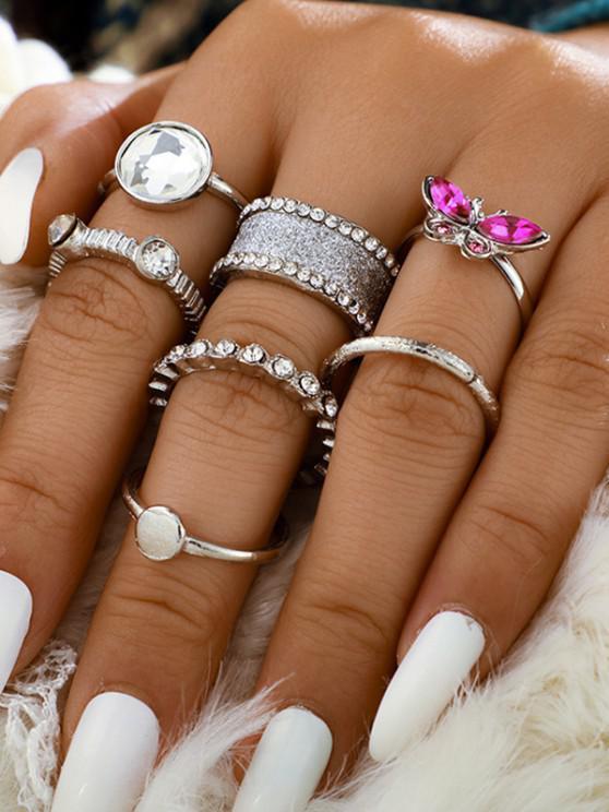 best 7 Piece Rhinestone Butterfly Finger Rings Set - SILVER