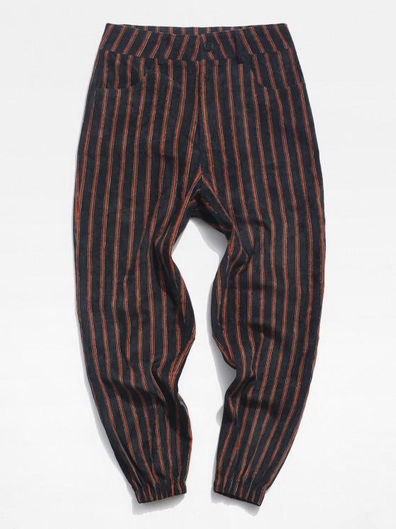 hot Striped Pattern Zip Fly Beam Feet Pants - BLACK XL