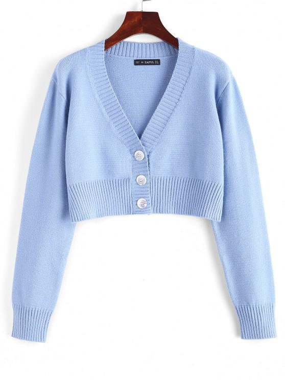 Rib-knit Trim Button Up Crop Cardigan - ازرق فاتح حجم واحد