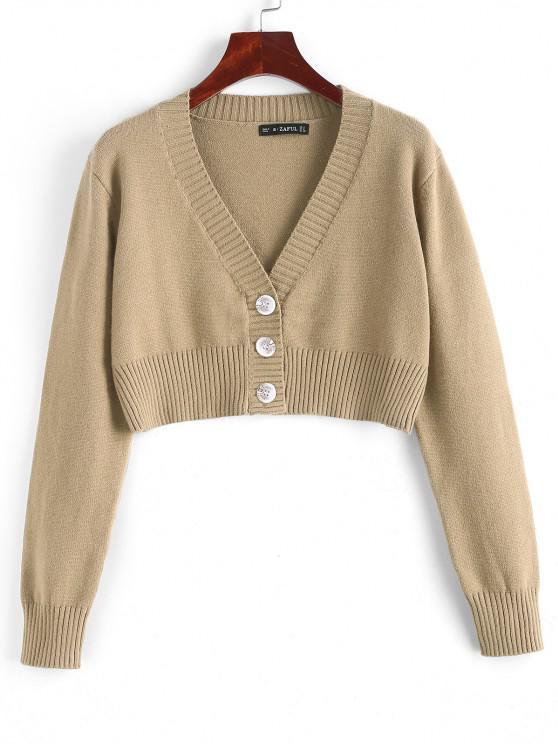 shop Rib-knit Trim Button Up Crop Cardigan - TAN ONE SIZE
