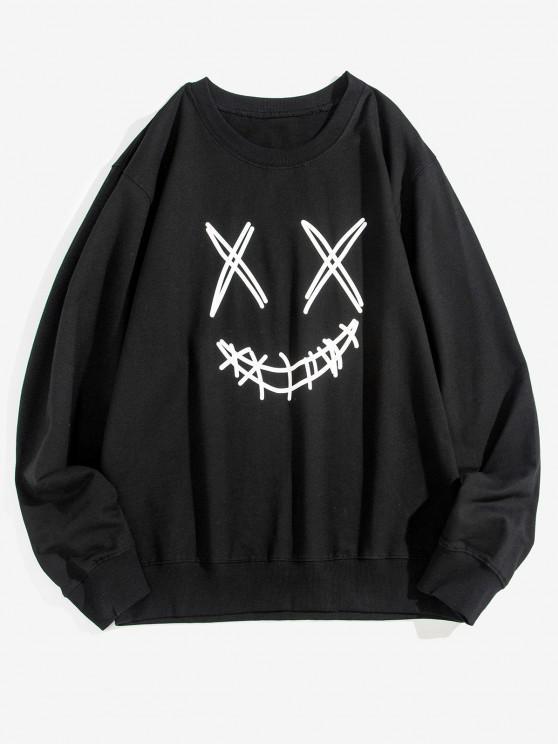 Leisure Smiley Face Graphic Crew Neck Sweatshirt - أسود XS