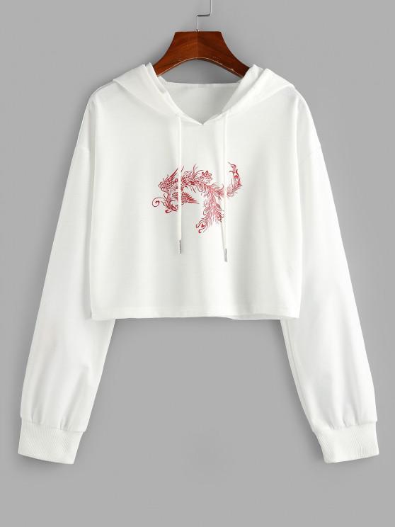 womens ZAFUL Chinoiserie Phoenix Print Cropped Hoodie - WHITE M