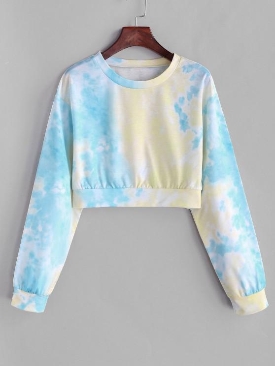women Tie Dye Cropped Drop Shoulder Sweatshirt - LIGHT BLUE L