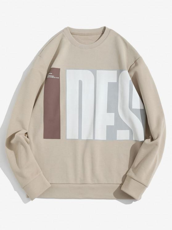 ladies Letter Pattern Pullover Crew Neck Sweatshirt - LIGHT COFFEE S
