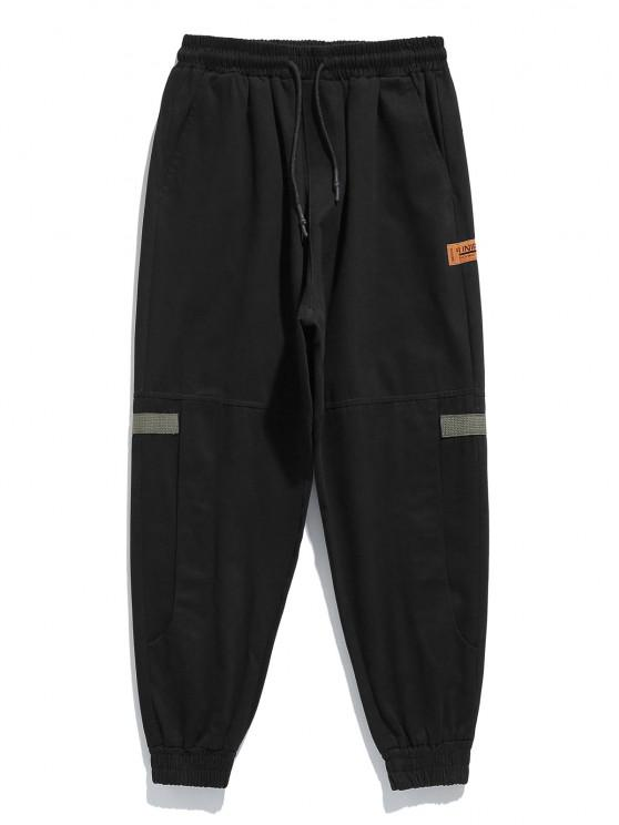 latest Contrast Patch Applique Casual Beam Feet Pants - BLACK XL