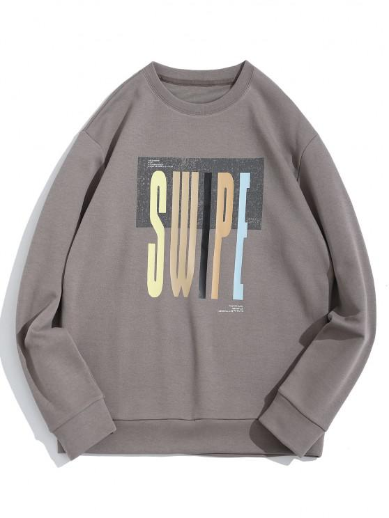 Swipe Letter Print Crew Neck Sweatshirt - اللون الرمادي XS