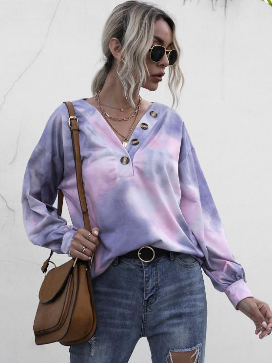 Tie Dye Buttoned Sweatshirt - متعدد L