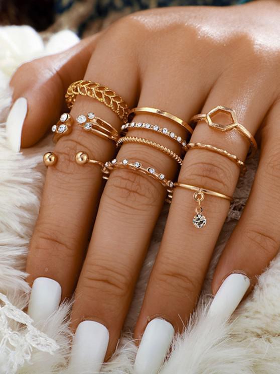 shops Rhinestone Leaves Pattern Rings Set - GOLDEN