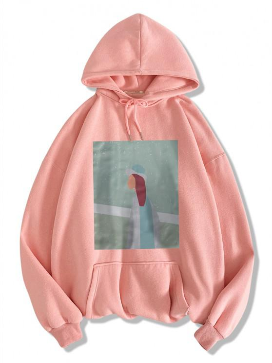 best Figure Pattern Drop Shoulder Hoodie - PINK L