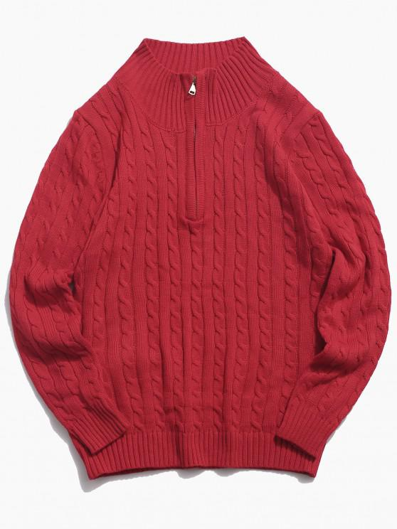 ladies Half Zipper Cable Knit Sweater - RED XS
