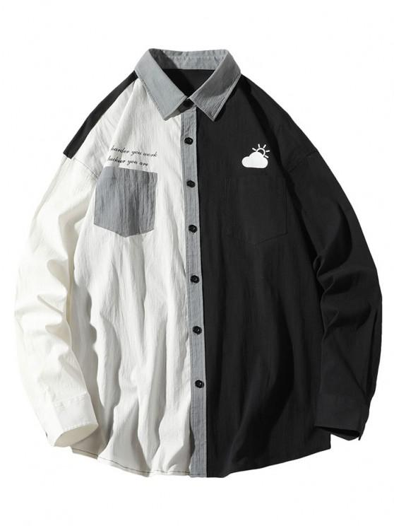chic Slogan Print Colorblock Panel Pocket Patch Shirt - WHITE L