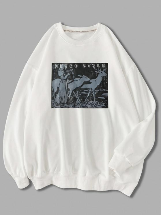 trendy Retro Style Woman Animal Graphic Sweatshirt - WHITE 2XL