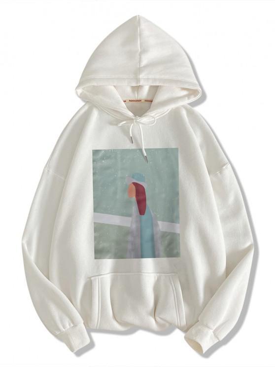 Figure Pattern Drop Shoulder Hoodie - أبيض S