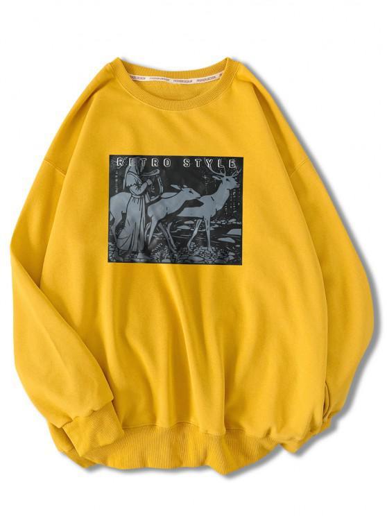 Retro Style Woman Animal Graphic Sweatshirt - أصفر فاقع M