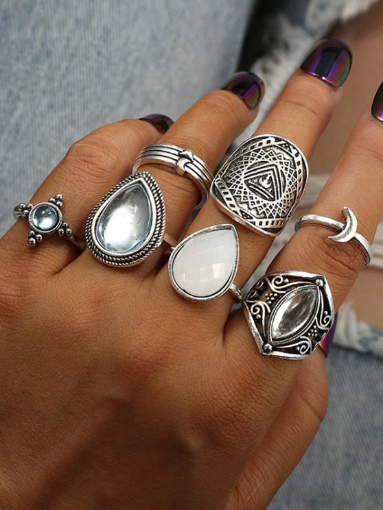 fashion 7 Piece Teardrop Moon Faux Gemstone Finger Rings Set - SILVER