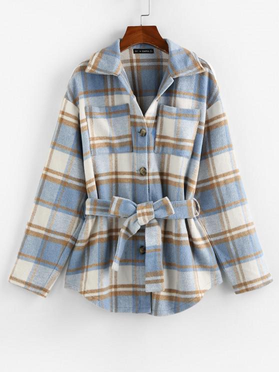 online Front Pockets Plaid Belted Jacket - LIGHT BLUE L