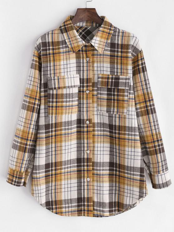 Plaid Flannel Flap Pocket Tunic Shirt - القهوة الخفيفة M