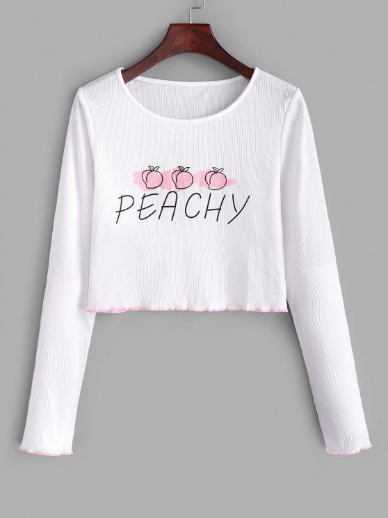 sale Ribbed Lettuce Peachy Graphic Tee - WHITE S