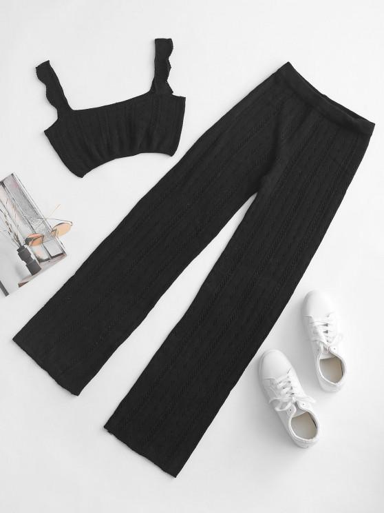 hot Pointelle Knit Square Neck Two Piece Pants Set - BLACK S