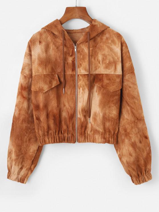 sale Tie Dye Flap Detail Corduroy Jacket - COFFEE M