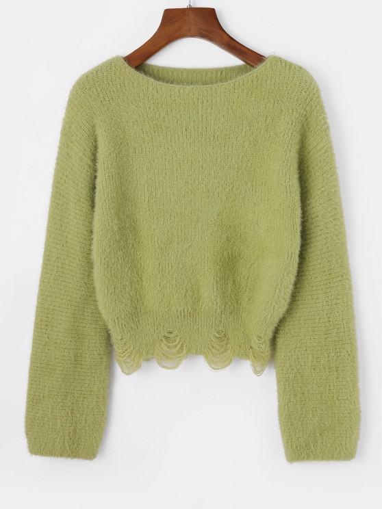 Slash Neck Fuzzy Distressed Sweater - أخضر حجم واحد