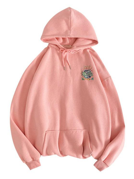 buy Summer Freedom Pizza Graphic Hoodie - PINK 2XL