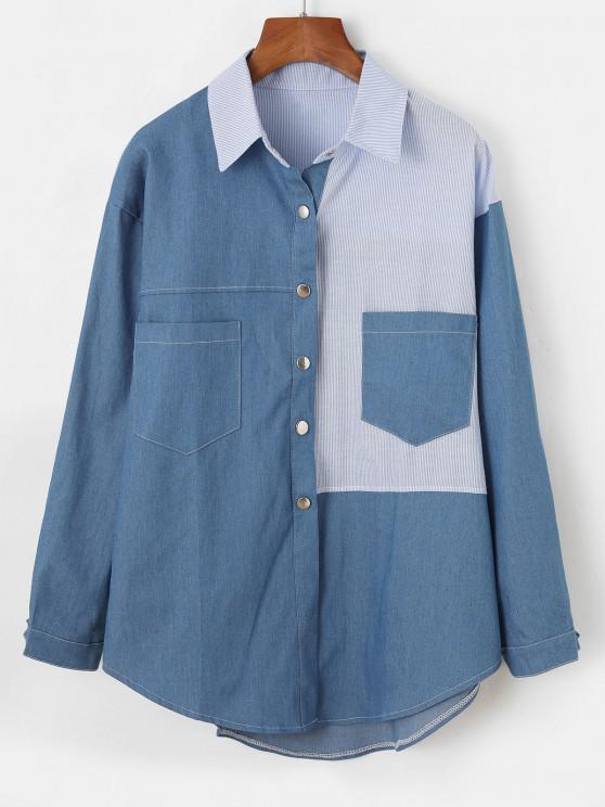 Chambray Camisa de Manga Longa com Bolso Frontal de Listras - Azul Denim M