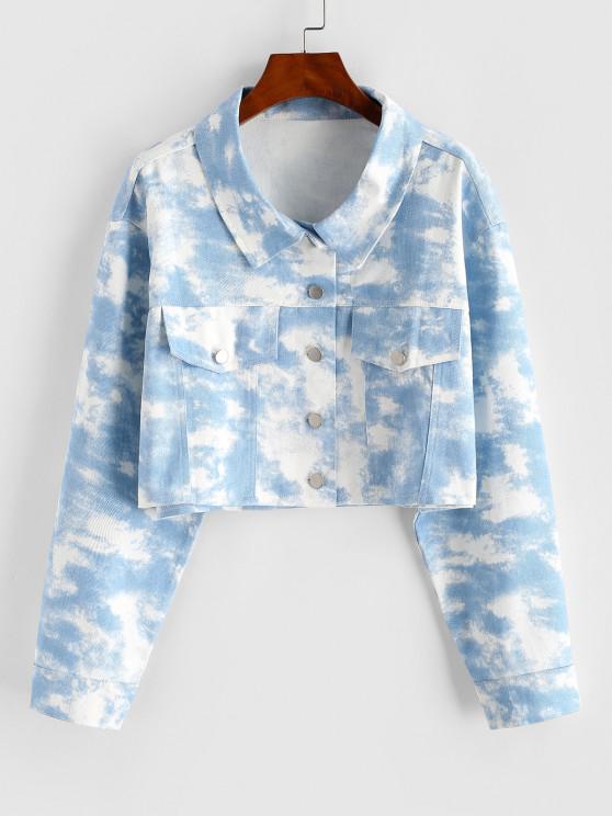 Tie Dye Crop Shirt Jacket - أزرق فاتح M