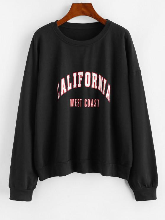 ladies Letter Graphic Drop Shoulder French Terry Sweatshirt - BLACK M