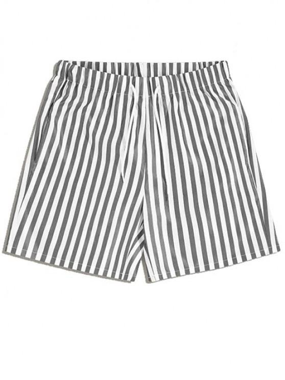 new Vertical Striped Leisure Home Shorts - GRAY 2XL