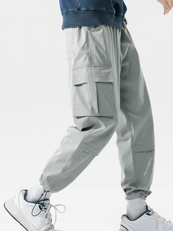 Pantalones de Carga de Bolsillo con Estampado de Letras - Gris Claro M