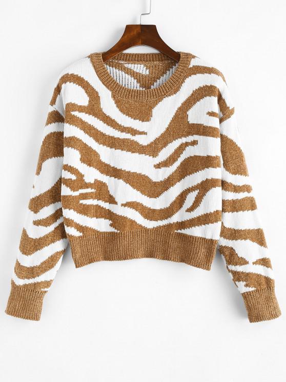 new Crew Neck Animal Graphic Chenille Sweater - LIGHT BROWN